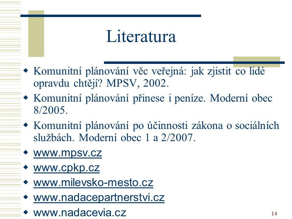 14 Literatura  Komunitní plánování věc veřejná: jak zjistit co lidé opravdu chtějí? MPSV, 2002.  Komunitní plánování přinese i peníze. Moderní obec