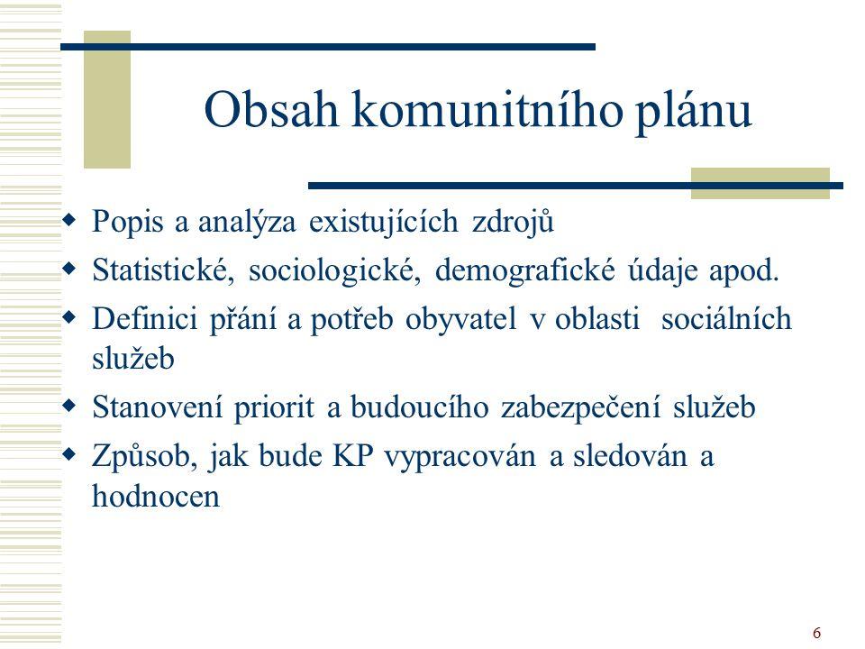 6 Obsah komunitního plánu  Popis a analýza existujících zdrojů  Statistické, sociologické, demografické údaje apod.  Definici přání a potřeb obyvat