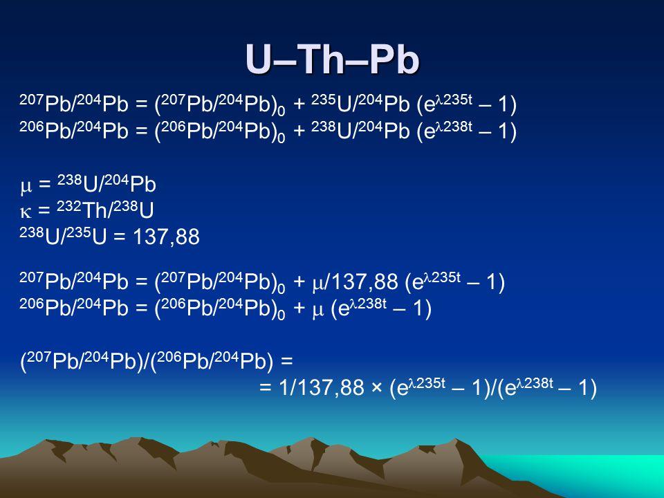 U–Th–Pb 207 Pb/ 204 Pb = ( 207 Pb/ 204 Pb) 0 + 235 U/ 204 Pb (e 235t – 1) 206 Pb/ 204 Pb = ( 206 Pb/ 204 Pb) 0 + 238 U/ 204 Pb (e 238t – 1)  = 238 U/