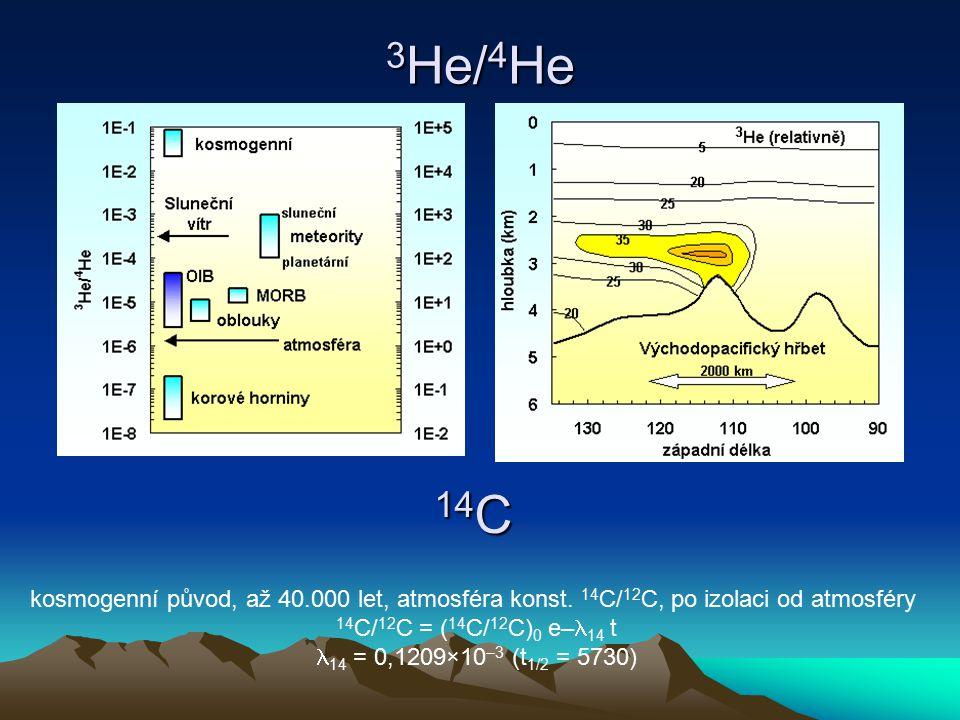3 He/ 4 He 14 C kosmogenní původ, až 40.000 let, atmosféra konst. 14 C/ 12 C, po izolaci od atmosféry 14 C/ 12 C = ( 14 C/ 12 C) 0 e– 14 t 14 = 0,1209