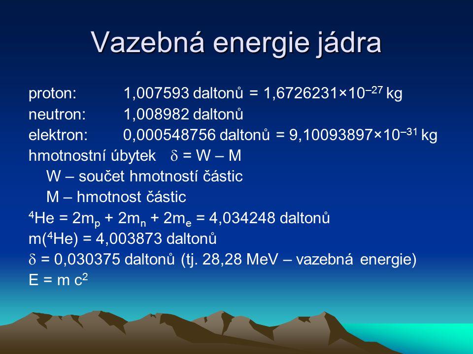 Vazebná energie jádra proton:1,007593 daltonů = 1,6726231×10 –27 kg neutron:1,008982 daltonů elektron:0,000548756 daltonů = 9,10093897×10 –31 kg hmotn