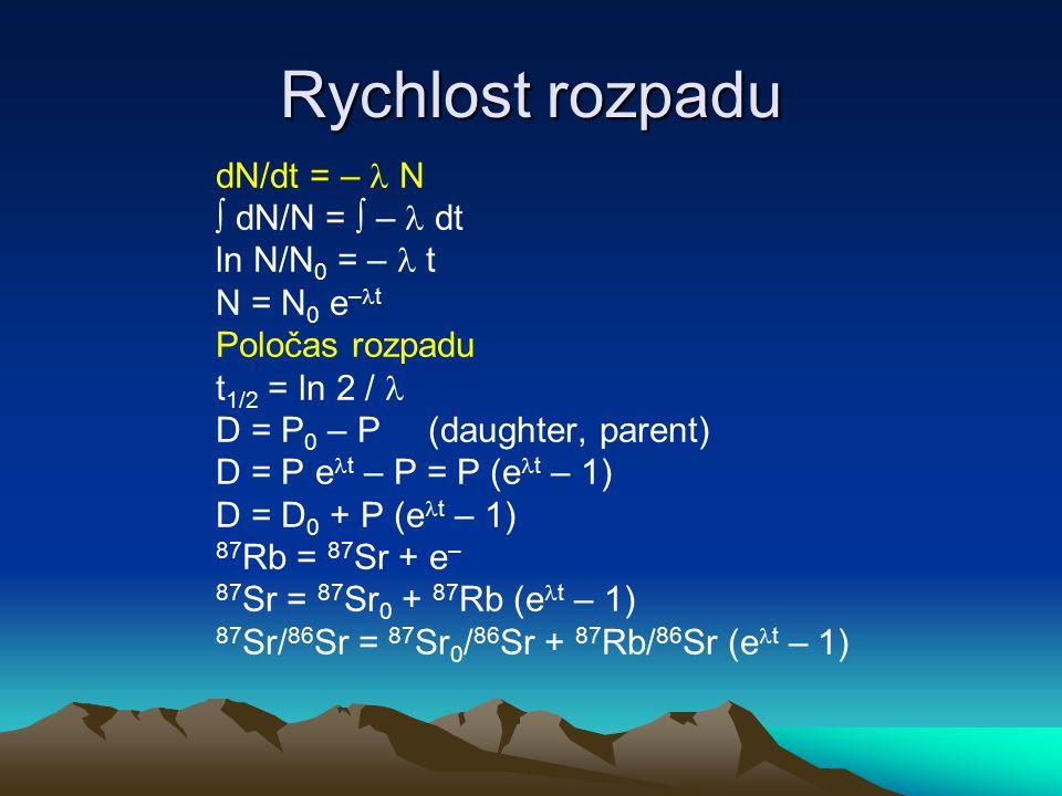 Kinetika – určování dynamiky Určování dynamiky růstu Mn nodulí pro sedimenty ( 230 Th izolováno do sedimentu) 230 Th = 230 Th s + 230 Th u s - supported by U, u - unsupported 230 Th = 238 U + ( 230 Th 0 – 238 U) e – 230 t 230 Th / 232 Th = ( 230 Th/ 232 Th) 0 e – 230 t + ( 238 U/ 232 Th) (1–e – 230 t ) růst Mn nodulí t = z/s z – hloubka s – rychlost růstu y = a e k/s + b e k/s podle Huh a Ku (1984), lokalizace MANOP ( 230 Th/ 232 Th) 0 = 84,25 ( 238 U/ 232 Th) = 0,22 s = 5,73 × 10 –5 mm/rok S = 57,3 mm/mil.