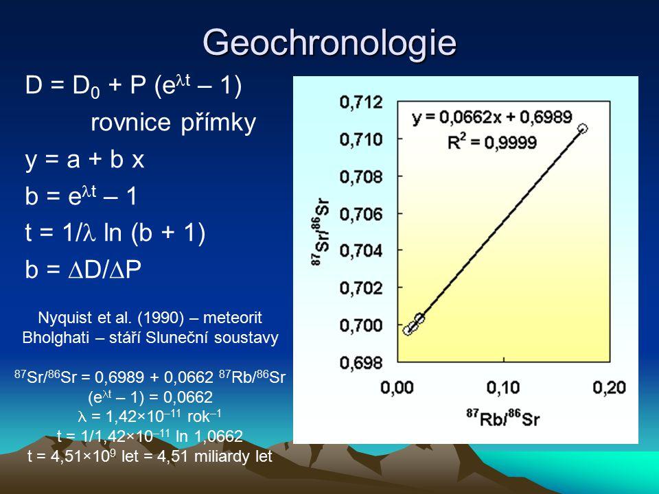 Geochronologie D = D 0 + P (e t – 1) rovnice přímky y = a + b x b = e t – 1 t = 1/ ln (b + 1) b =  D/  P Nyquist et al. (1990) – meteorit Bholghati