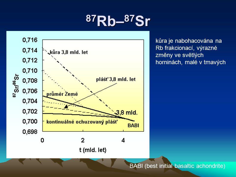 87 Rb– 87 Sr kůra je nabohacována na Rb frakcionací, výrazné změny ve světlých horninách, malé v tmavých BABI (best initial basaltic achondrite)