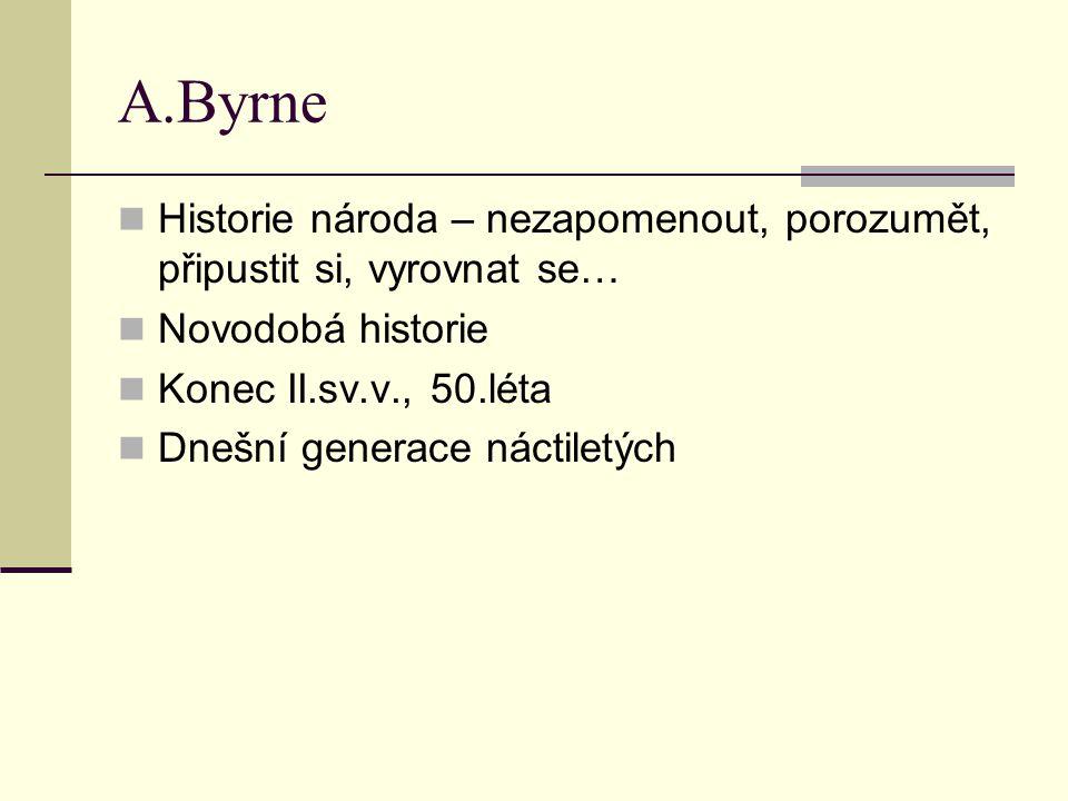 A.Byrne Historie národa – nezapomenout, porozumět, připustit si, vyrovnat se… Novodobá historie Konec II.sv.v., 50.léta Dnešní generace náctiletých