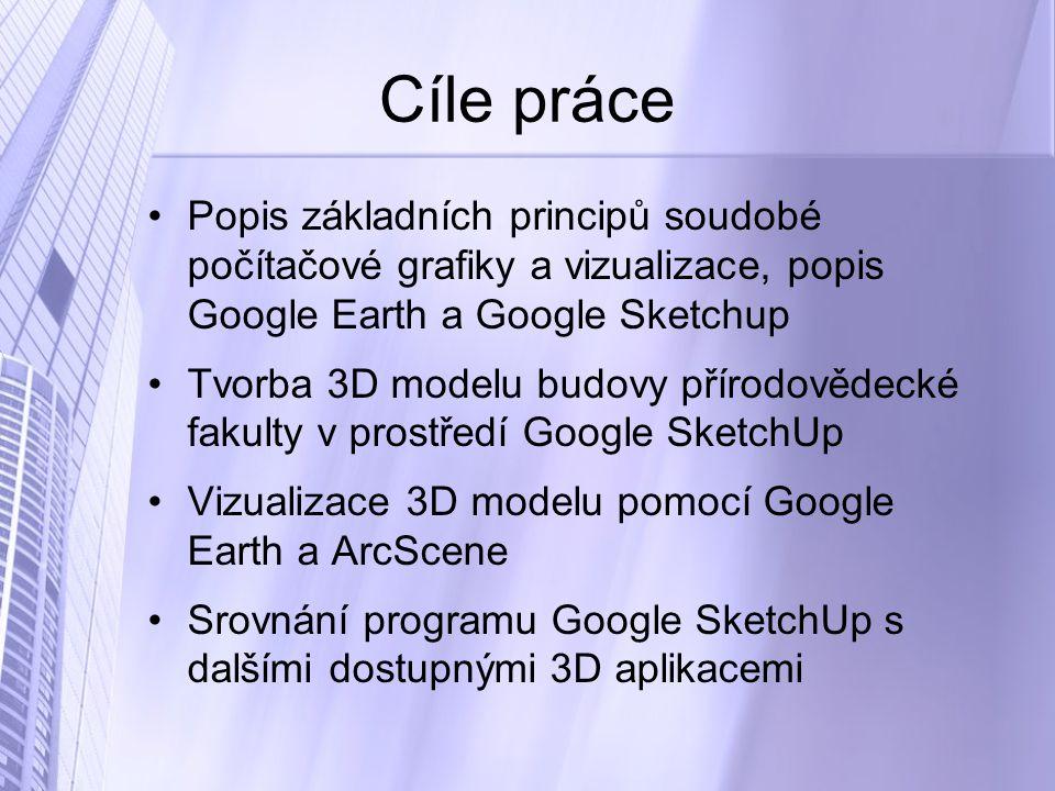 Cíle práce Popis základních principů soudobé počítačové grafiky a vizualizace, popis Google Earth a Google Sketchup Tvorba 3D modelu budovy přírodovědecké fakulty v prostředí Google SketchUp Vizualizace 3D modelu pomocí Google Earth a ArcScene Srovnání programu Google SketchUp s dalšími dostupnými 3D aplikacemi