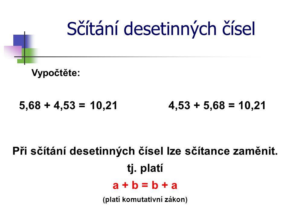 Sčítání desetinných čísel Vypočtěte: 5,68 + 4,53 =4,53 + 5,68 =10,21 Při sčítání desetinných čísel lze sčítance zaměnit. tj. platí a + b = b + a (plat