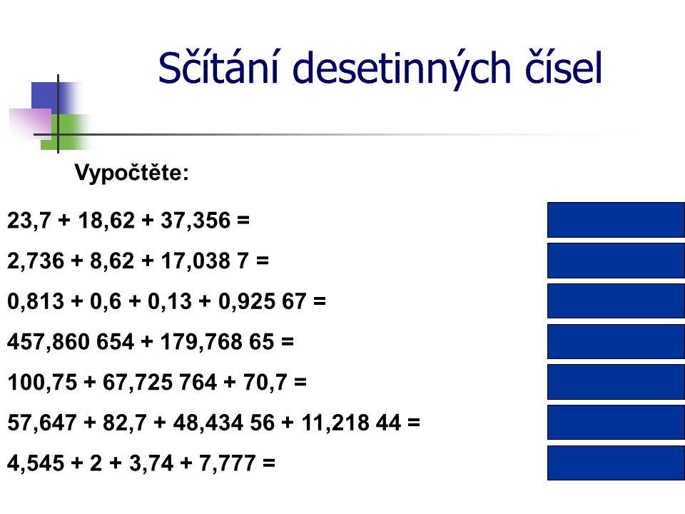 Sčítání desetinných čísel Vypočtěte: 2,736 + 8,62 + 17,038 7 = 457,860 654 + 179,768 65 = 28,394 7 637,629 304 2,468 670,813 + 0,6 + 0,13 + 0,925 67 =