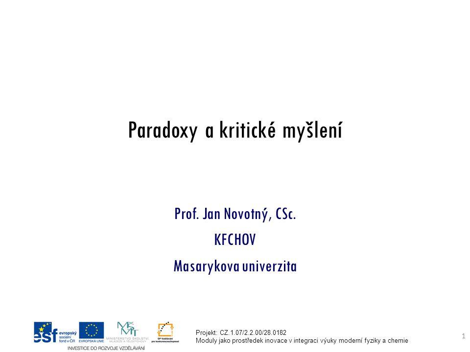 Projekt: CZ.1.07/2.2.00/28.0182 Moduly jako prostředek inovace v integraci výuky moderní fyziky a chemie 1 Paradoxy a kritické myšlení Prof.
