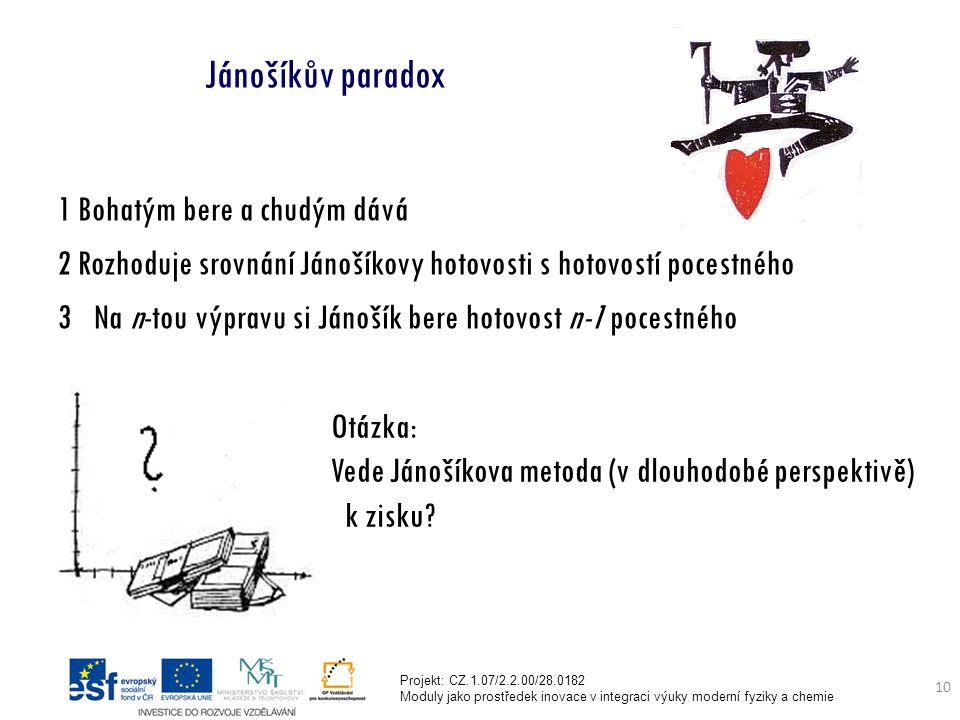 Projekt: CZ.1.07/2.2.00/28.0182 Moduly jako prostředek inovace v integraci výuky moderní fyziky a chemie 10 Jánošíkův paradox 1 Bohatým bere a chudým dává 2 Rozhoduje srovnání Jánošíkovy hotovosti s hotovostí pocestného 3Na n-tou výpravu si Jánošík bere hotovost n-1 pocestného Otázka: Vede Jánošíkova metoda (v dlouhodobé perspektivě) k zisku?
