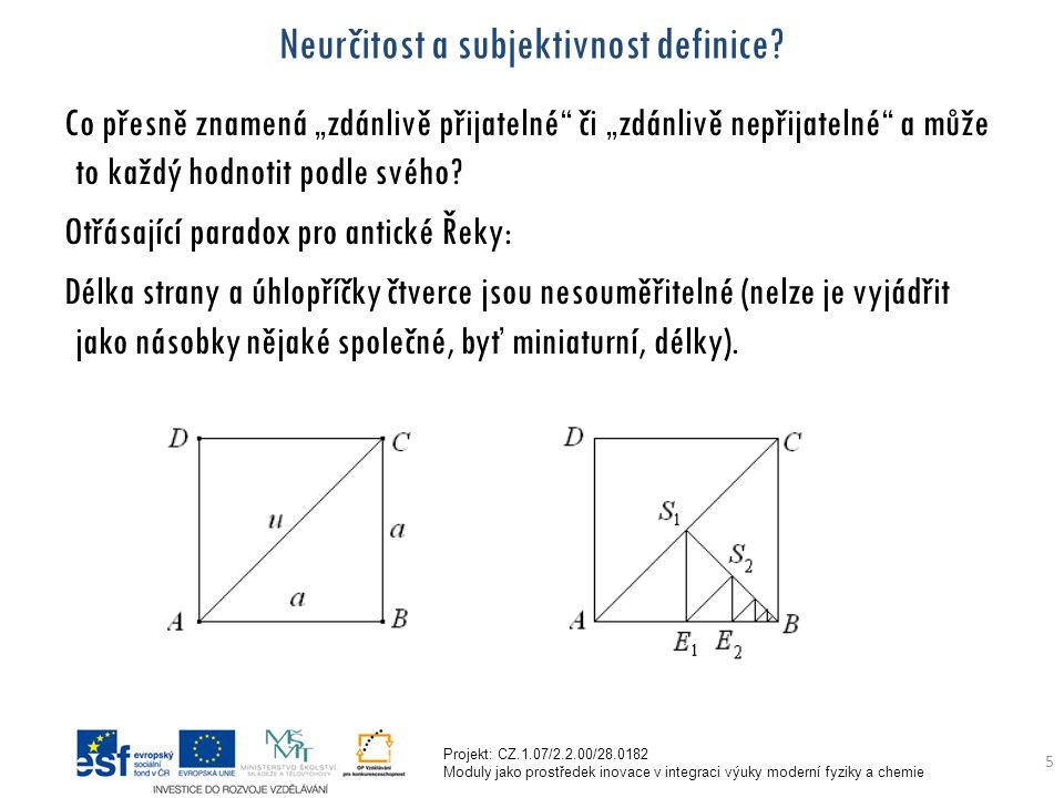 Projekt: CZ.1.07/2.2.00/28.0182 Moduly jako prostředek inovace v integraci výuky moderní fyziky a chemie 5 Neurčitost a subjektivnost definice.