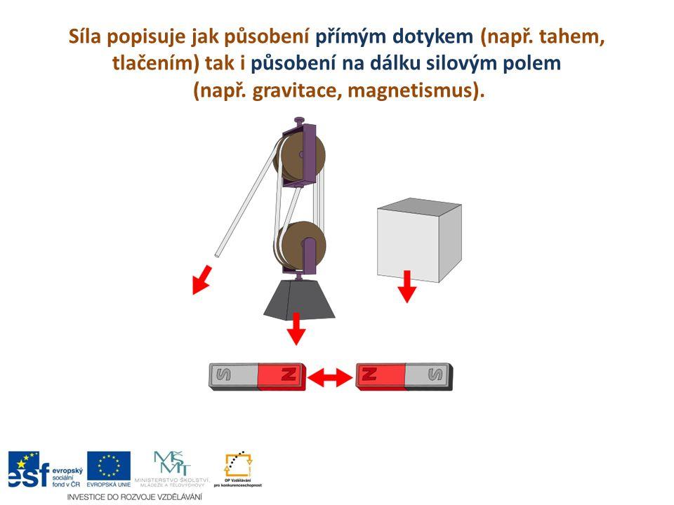 Síla popisuje jak působení přímým dotykem (např. tahem, tlačením) tak i působení na dálku silovým polem (např. gravitace, magnetismus).