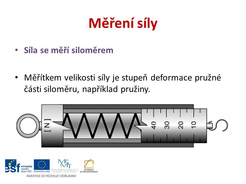 Měření síly Síla se měří siloměrem Měřítkem velikosti síly je stupeň deformace pružné části siloměru, například pružiny.