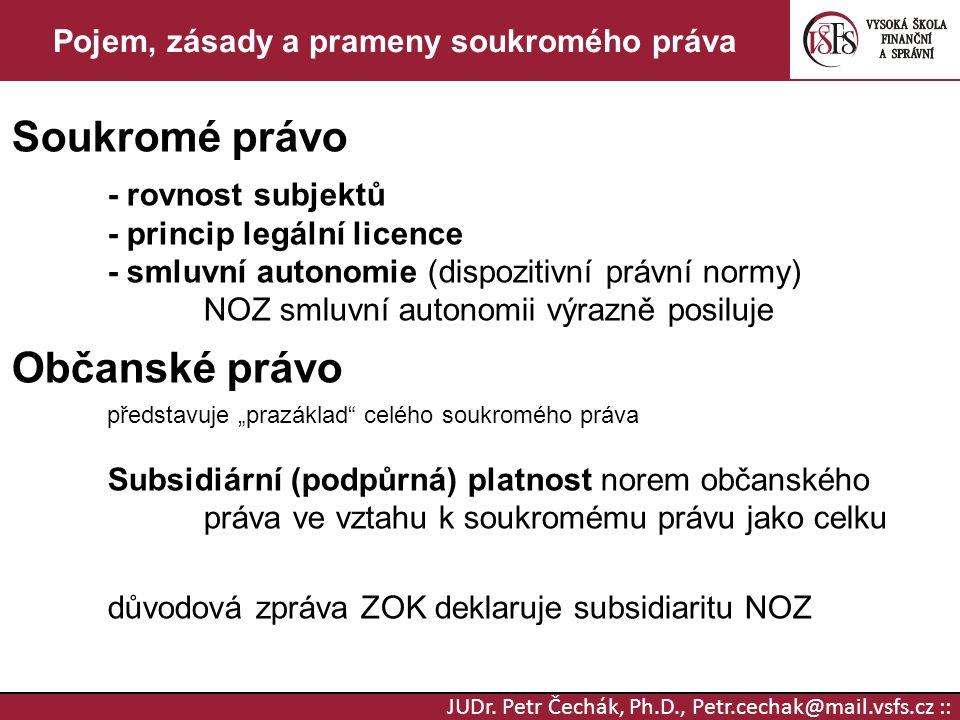 JUDr. Petr Čechák, Ph.D., Petr.cechak@mail.vsfs.cz :: Pojem, zásady a prameny soukromého práva Soukromé právo - rovnost subjektů - princip legální lic