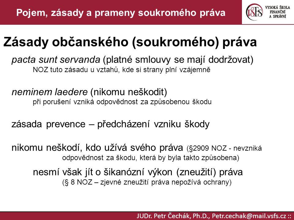 JUDr. Petr Čechák, Ph.D., Petr.cechak@mail.vsfs.cz :: Pojem, zásady a prameny soukromého práva Zásady občanského (soukromého) práva pacta sunt servand