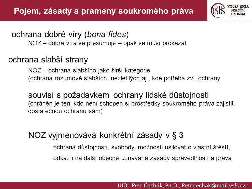JUDr. Petr Čechák, Ph.D., Petr.cechak@mail.vsfs.cz :: Pojem, zásady a prameny soukromého práva ochrana dobré víry (bona fides) NOZ – dobrá víra se pre