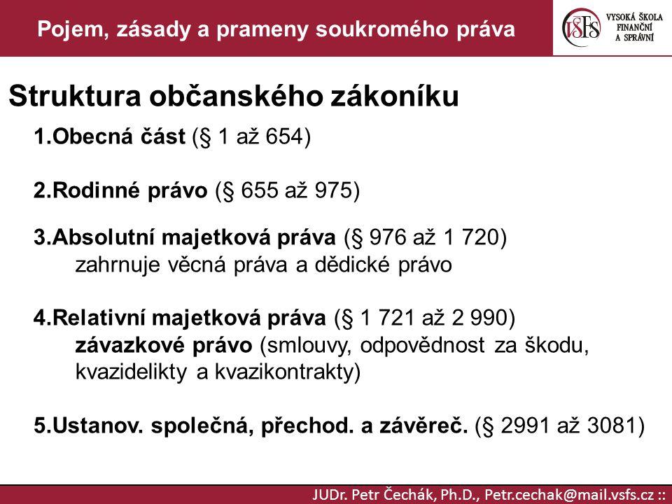 JUDr. Petr Čechák, Ph.D., Petr.cechak@mail.vsfs.cz :: Pojem, zásady a prameny soukromého práva Struktura občanského zákoníku 1.Obecná část (§ 1 až 654