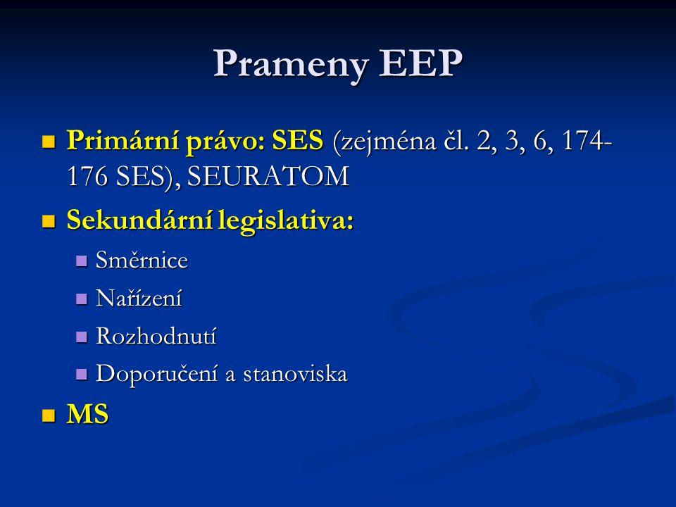 Prameny EEP Primární právo: SES (zejména čl. 2, 3, 6, 174- 176 SES), SEURATOM Primární právo: SES (zejména čl. 2, 3, 6, 174- 176 SES), SEURATOM Sekund
