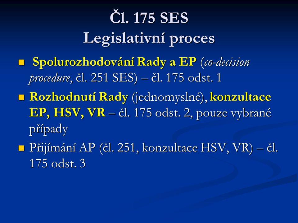 Čl. 175 SES Legislativní proces Spolurozhodování Rady a EP (co-decision procedure, čl. 251 SES) – čl. 175 odst. 1 Spolurozhodování Rady a EP (co-decis