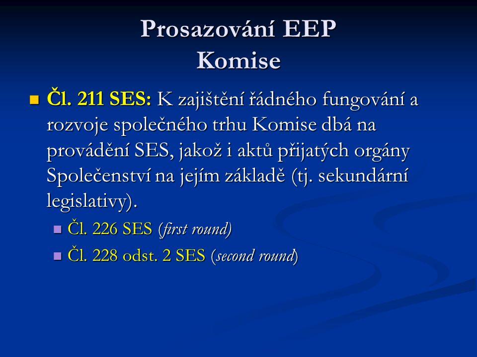 Prosazování EEP Komise Čl. 211 SES: K zajištění řádného fungování a rozvoje společného trhu Komise dbá na provádění SES, jakož i aktů přijatých orgány