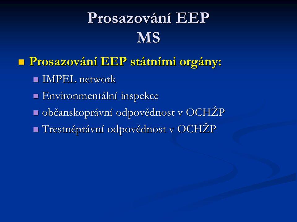 Prosazování EEP MS Prosazování EEP státními orgány: Prosazování EEP státními orgány: IMPEL network IMPEL network Environmentální inspekce Environmentá