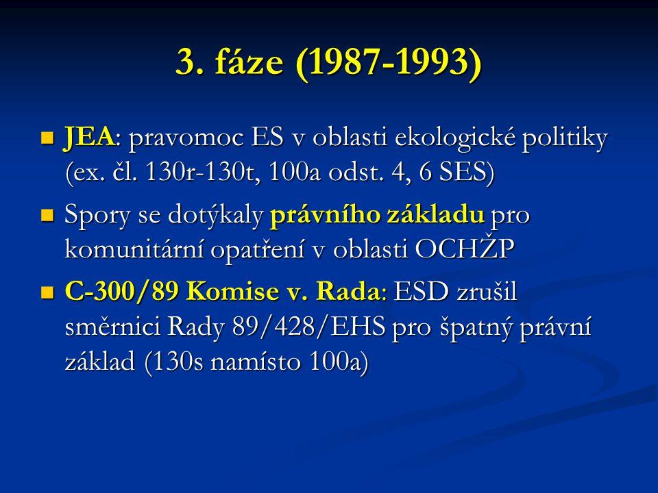 3. fáze (1987-1993) JEA: pravomoc ES v oblasti ekologické politiky (ex. čl. 130r-130t, 100a odst. 4, 6 SES) JEA: pravomoc ES v oblasti ekologické poli