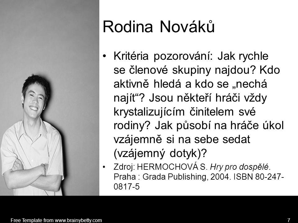 Free Template from www.brainybetty.com7 Rodina Nováků Kritéria pozorování: Jak rychle se členové skupiny najdou.