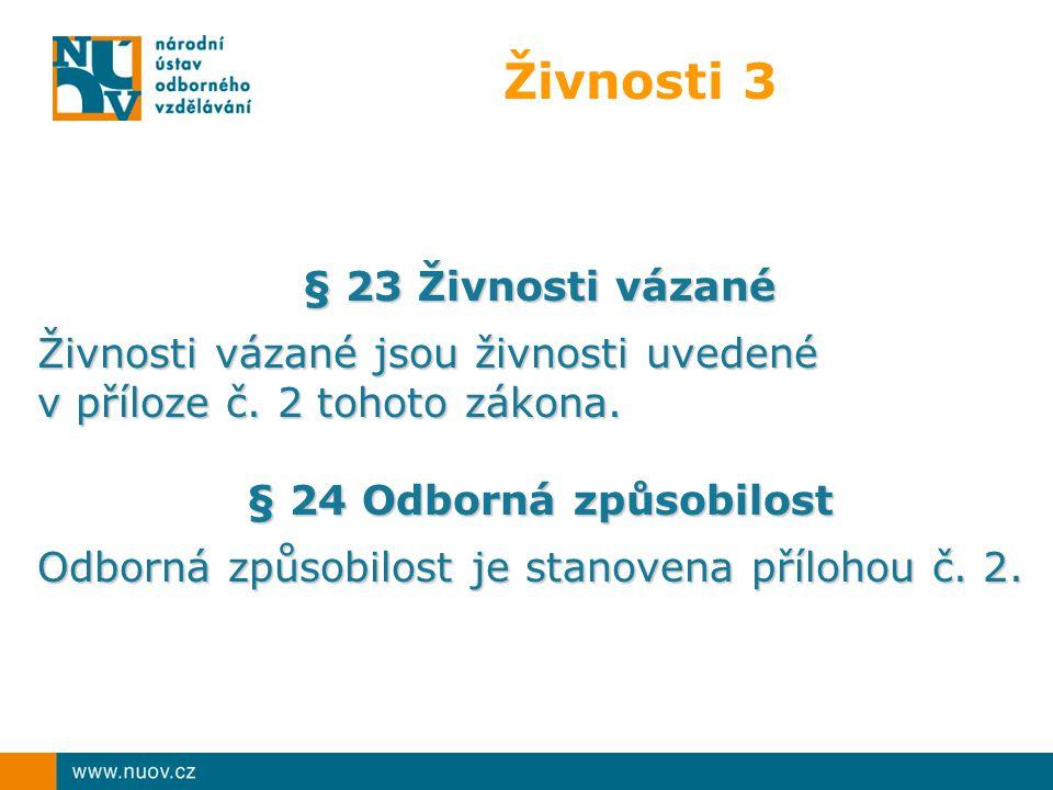 Živnosti 3 § 23 Živnosti vázané Živnosti vázané jsou živnosti uvedené v příloze č.