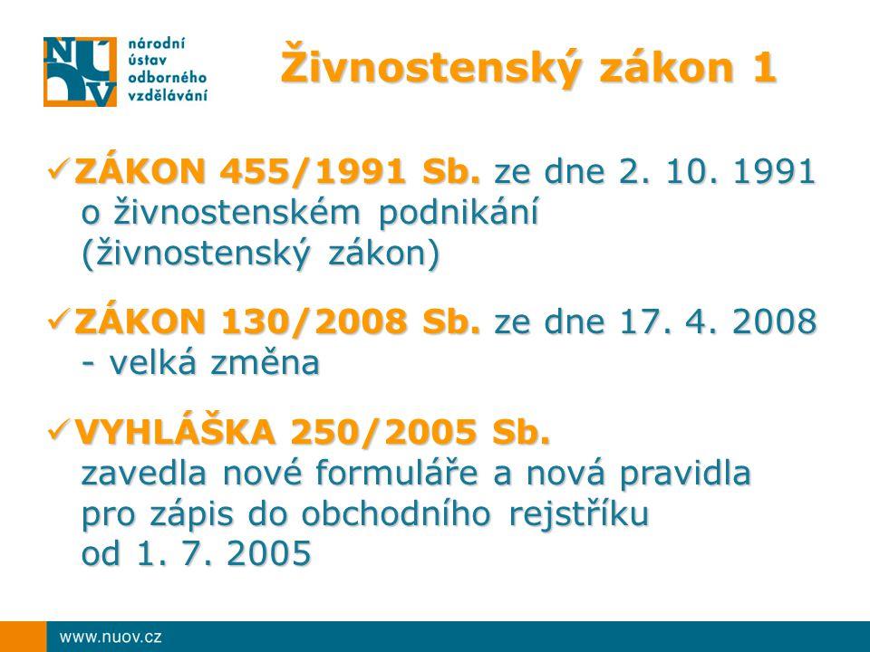 Živnostenský zákon 1 ZÁKON 455/1991 Sb.ze dne 2. 10.