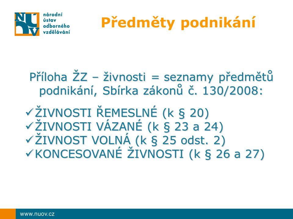 Předměty podnikání Příloha ŽZ – živnosti = seznamy předmětů podnikání, Sbírka zákonů č.