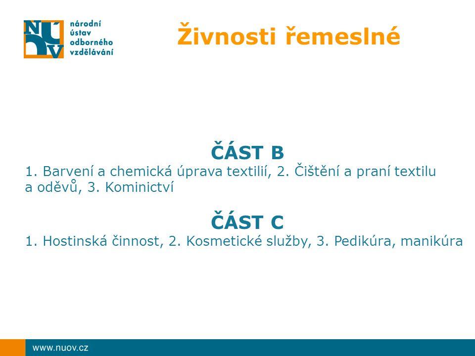 Živnosti řemeslné ČÁST B 1.Barvení a chemická úprava textilií, 2.