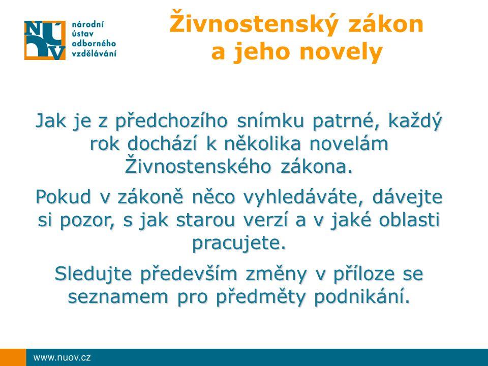 Živnostenský zákon a jeho novely Jak je z předchozího snímku patrné, každý rok dochází k několika novelám Živnostenského zákona.