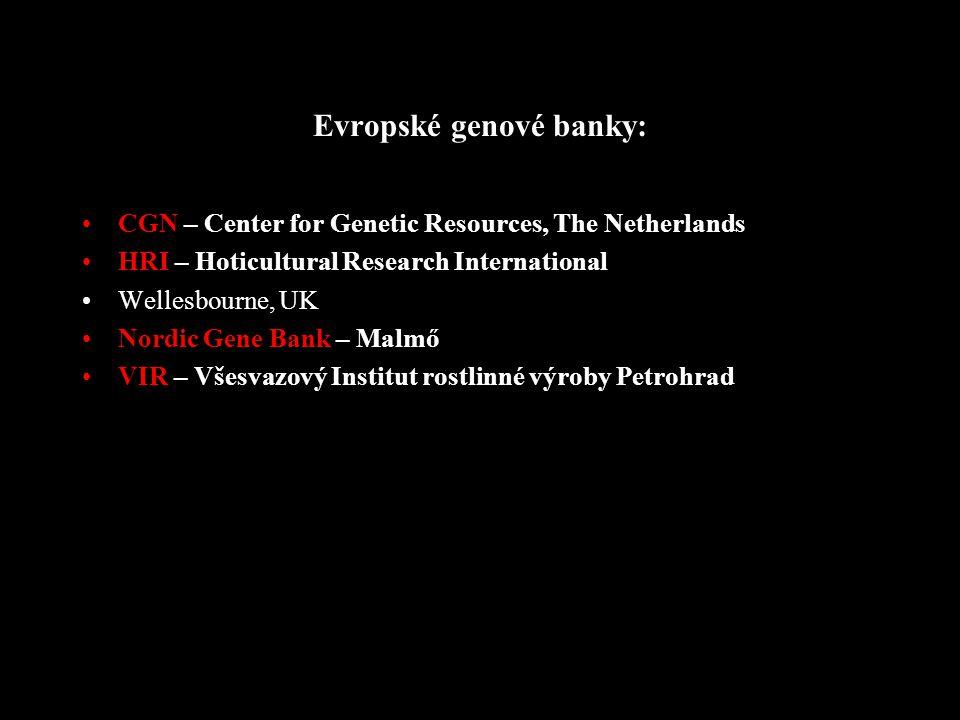 Ochrana fytogenofondu GRIN – The National Plant Germplasm System (NPGS) - americký systém evidence genových zdrojů, Kalifornie USDA ARS – US Department of Agriculture, Agricultural Research Service