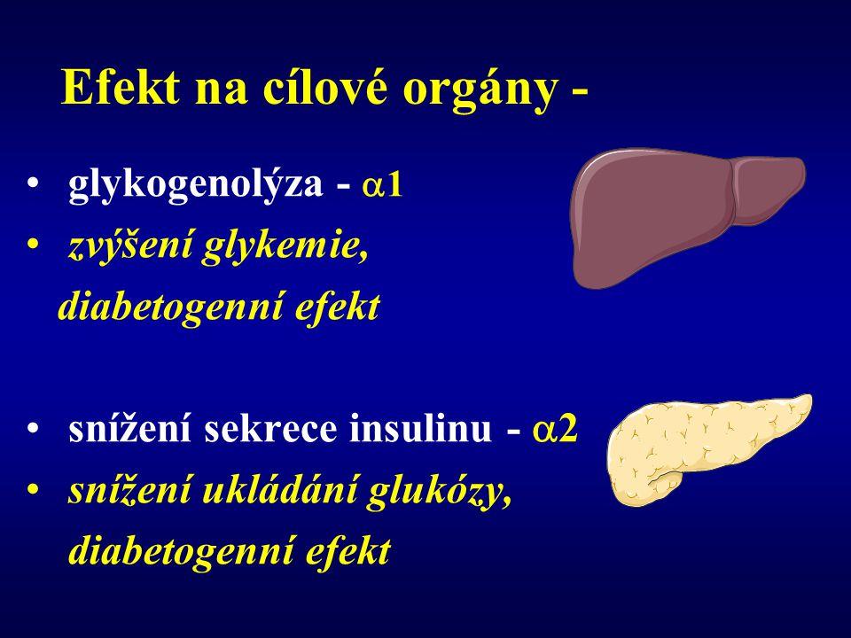 Efekt na cílové orgány - glykogenolýza -  1 zvýšení glykemie, diabetogenní efekt snížení sekrece insulinu -  2 snížení ukládání glukózy, diabetogenn
