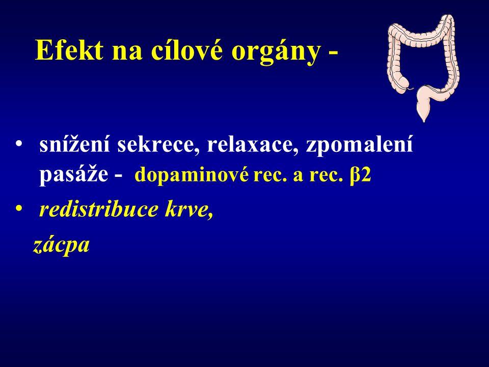 Efekt na cílové orgány - snížení sekrece, relaxace, zpomalení pasáže - dopaminové rec.