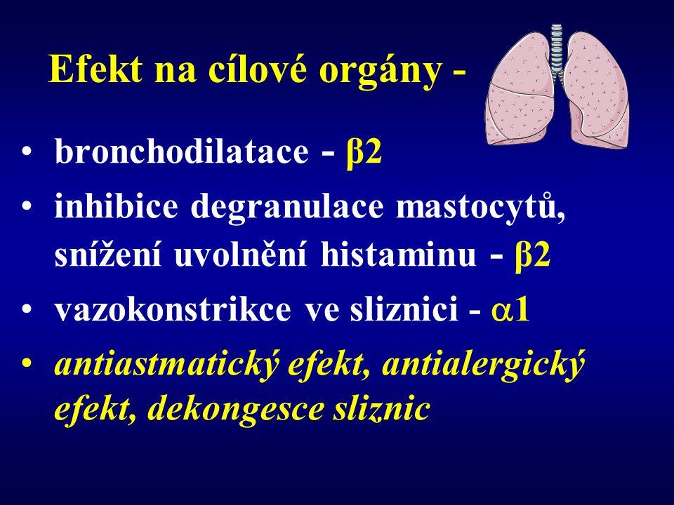 Efekt na cílové orgány - bronchodilatace - β2 inhibice degranulace mastocytů, snížení uvolnění histaminu - β2 vazokonstrikce ve sliznici -  1 antiast