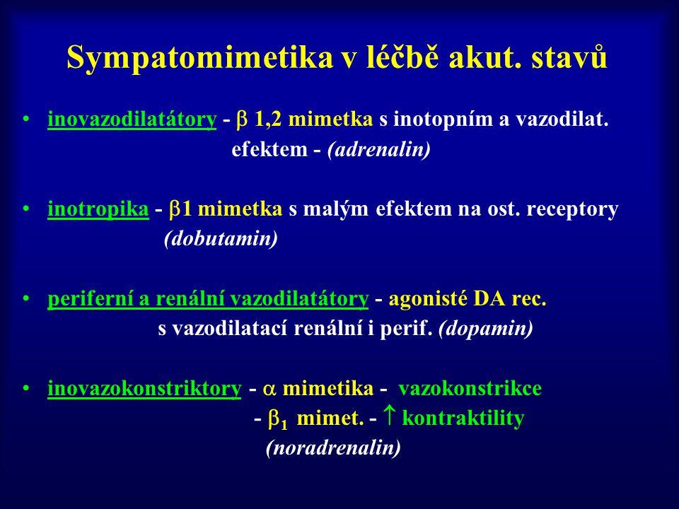 inovazodilatátory -  1,2 mimetka s inotopním a vazodilat. efektem - (adrenalin) inotropika -  1 mimetka s malým efektem na ost. receptory (dobutamin
