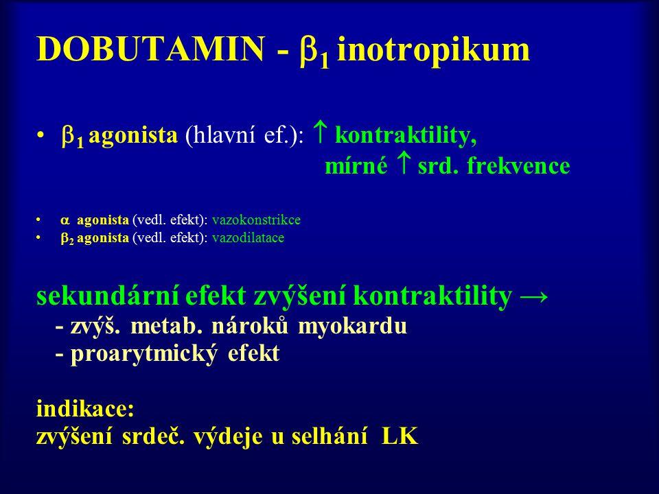DOBUTAMIN -  1 inotropikum  1 agonista (hlavní ef.):  kontraktility, mírné  srd.