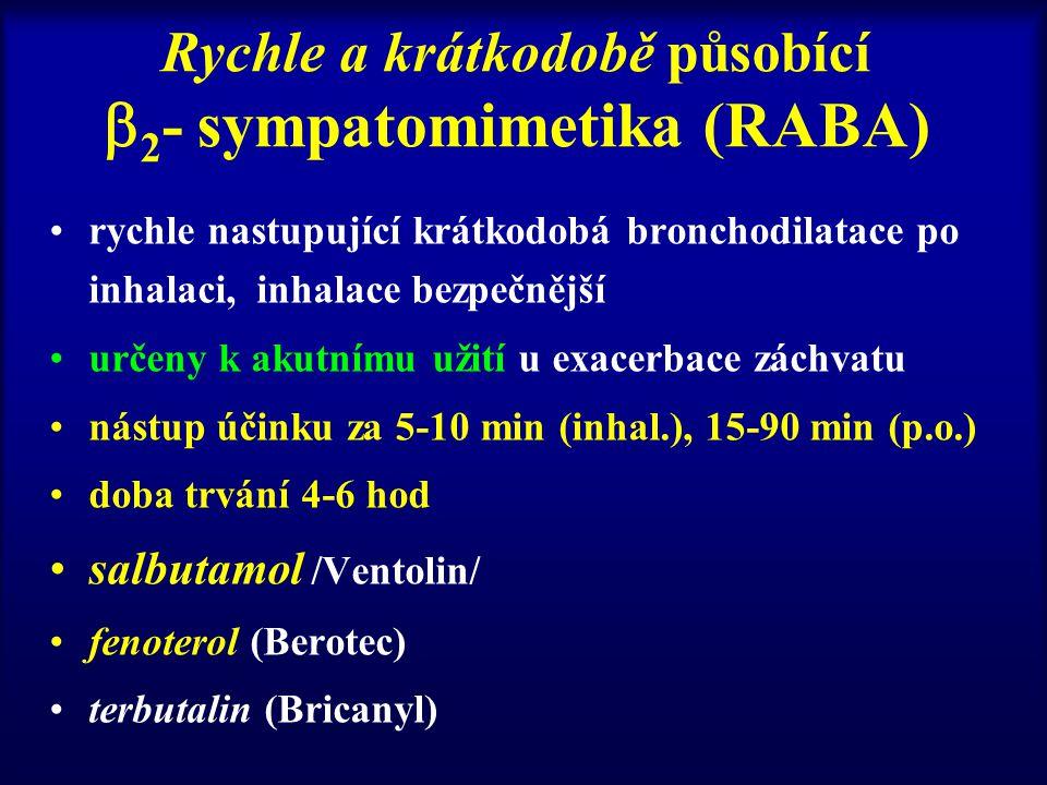 Rychle a krátkodobě působící  2 - sympatomimetika (RABA) rychle nastupující krátkodobá bronchodilatace po inhalaci, inhalace bezpečnější určeny k akutnímu užití u exacerbace záchvatu nástup účinku za 5-10 min (inhal.), 15-90 min (p.o.) doba trvání 4-6 hod salbutamol /Ventolin/ fenoterol (Berotec) terbutalin (Bricanyl)