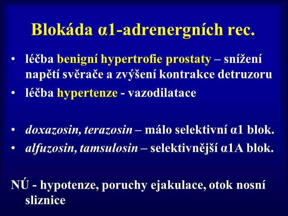 Blokáda α1-adrenergních rec. léčba benigní hypertrofie prostaty – snížení napětí svěrače a zvýšení kontrakce detruzoru léčba hypertenze - vazodilatace