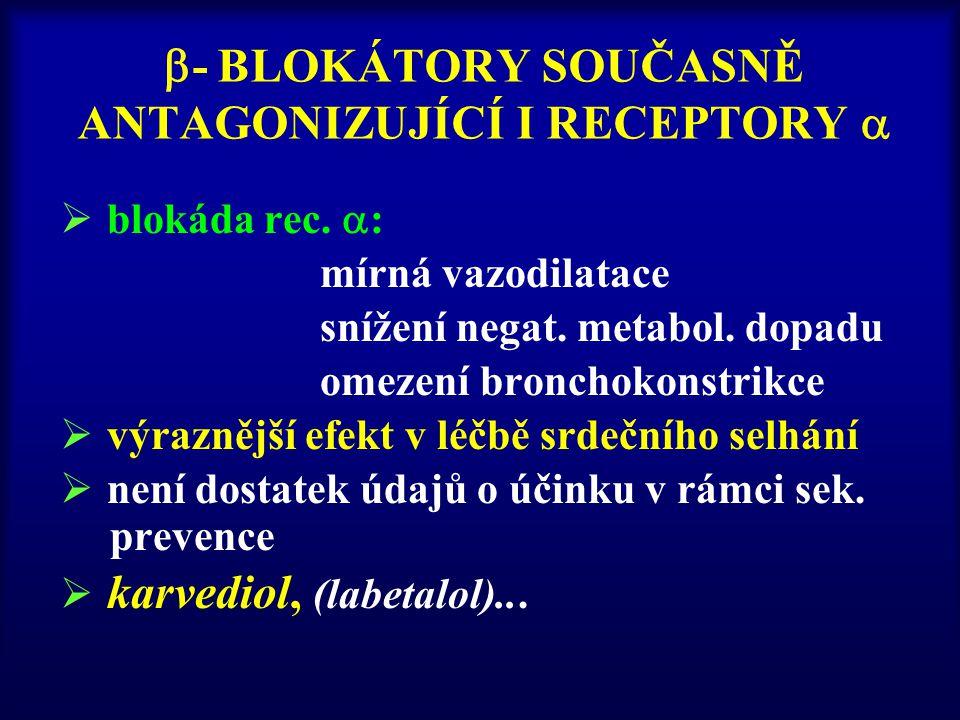  - BLOKÁTORY SOUČASNĚ ANTAGONIZUJÍCÍ I RECEPTORY   blokáda rec.