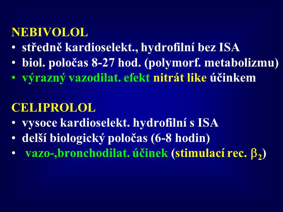 NEBIVOLOL středně kardioselekt., hydrofilní bez ISA biol. poločas 8-27 hod. (polymorf. metabolizmu) výrazný vazodilat. efekt nitrát like účinkem CELIP