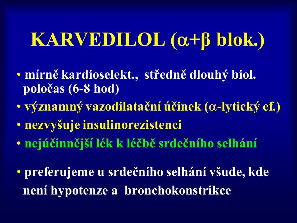 KARVEDILOL (  +β blok.) mírně kardioselekt., středně dlouhý biol. poločas (6-8 hod) významný vazodilatační účinek (  -lytický ef.) nezvyšuje insulin