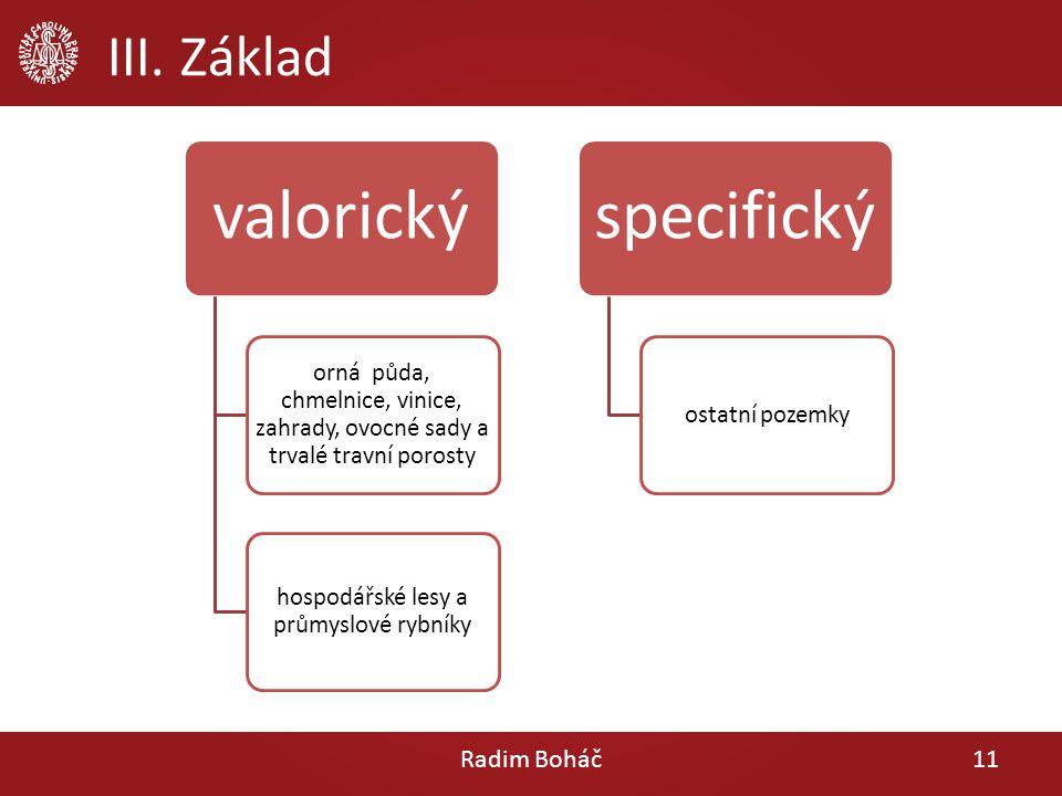 III. Základ Radim Boháč11 valorický orná půda, chmelnice, vinice, zahrady, ovocné sady a trvalé travní porosty hospodářské lesy a průmyslové rybníky s