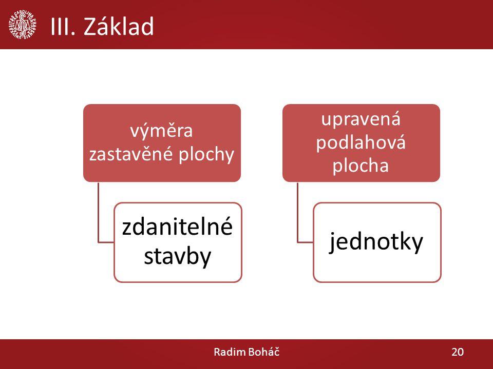 III. Základ Radim Boháč20 výměra zastavěné plochy zdanitelné stavby upravená podlahová plocha jednotky