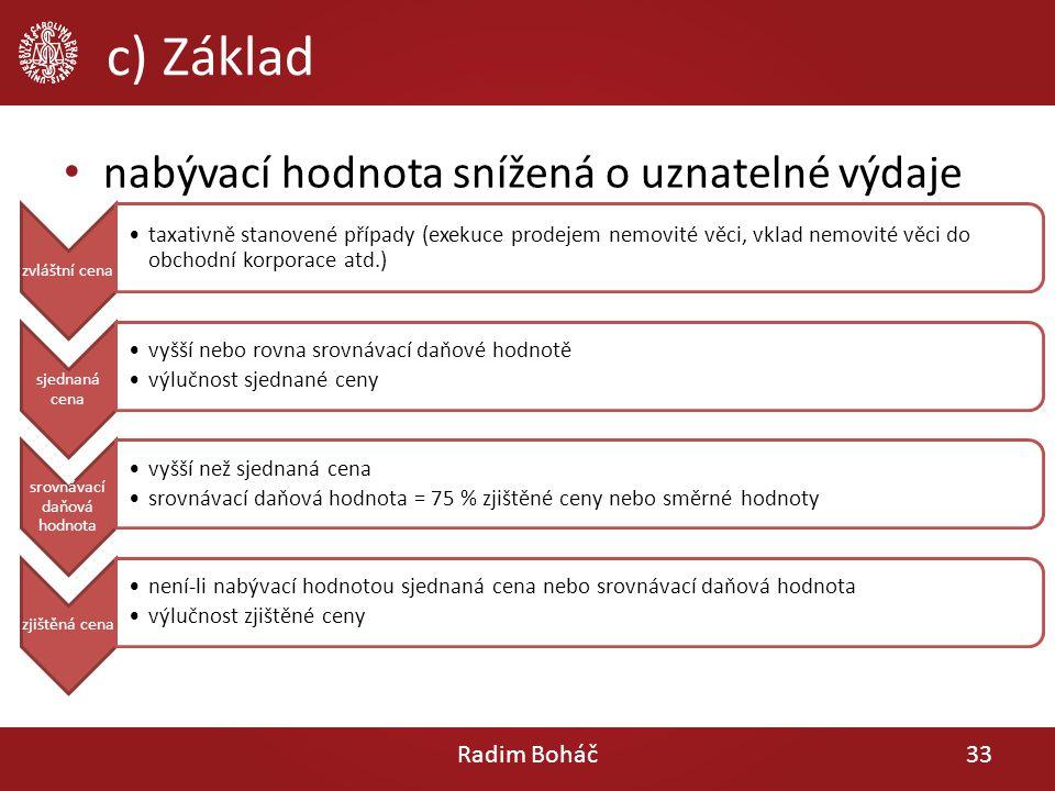 c) Základ Radim Boháč33 zvláštní cena taxativně stanovené případy (exekuce prodejem nemovité věci, vklad nemovité věci do obchodní korporace atd.) sje