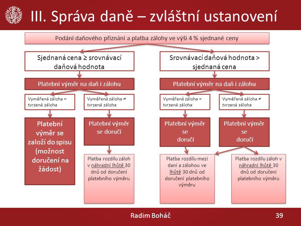 III. Správa daně – zvláštní ustanovení Radim Boháč39 Podání daňového přiznání a platba zálohy ve výši 4 % sjednané ceny Sjednaná cena ≥ srovnávací daň