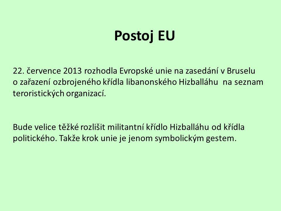 Postoj EU 22. července 2013 rozhodla Evropské unie na zasedání v Bruselu o zařazení ozbrojeného křídla libanonského Hizballáhu na seznam teroristickýc