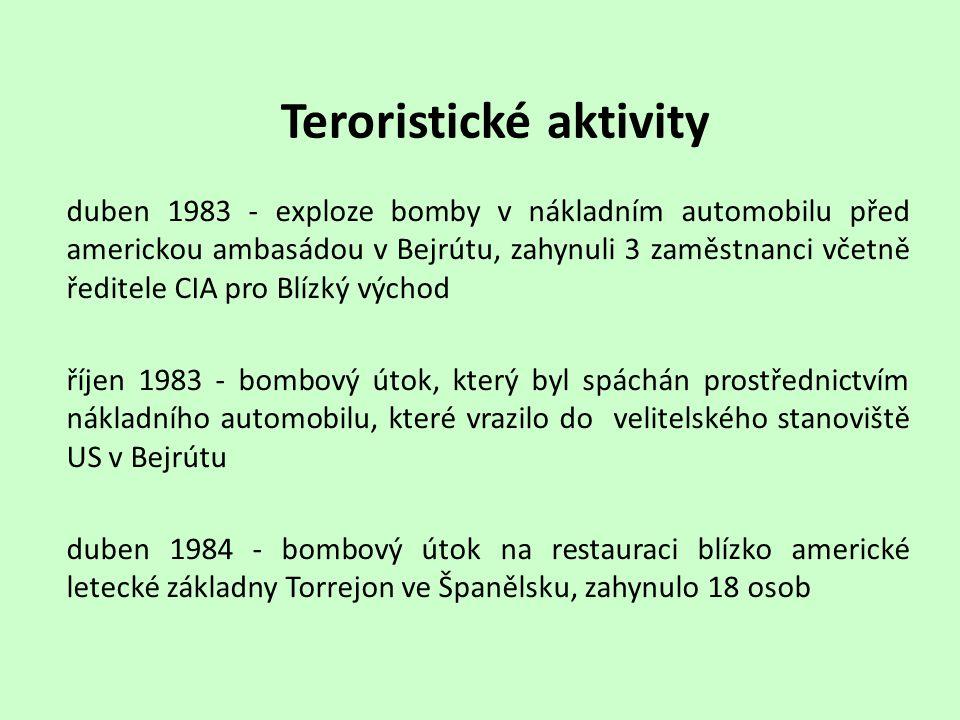 Teroristické aktivity duben 1983 - exploze bomby v nákladním automobilu před americkou ambasádou v Bejrútu, zahynuli 3 zaměstnanci včetně ředitele CIA