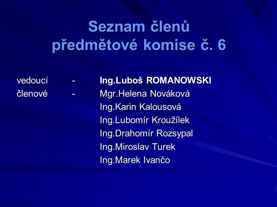 Vyučované předměty z oblasti konstrukce silničních vozidel ATO – automobily Ing.Romanowski - ATE2,AEM3,MAA2,MAB2,MAB3 Ing.Turek- MAA3 Ing.Rozsypal- MAA1,MAB1 DPR – dopravní prostředky Ing.Turek- KLE2 Ing.Rozsypal- KLE3